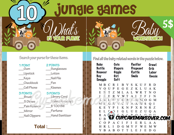 DIY jungle animals baby shower games