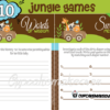 jungle baby animals shower games printables