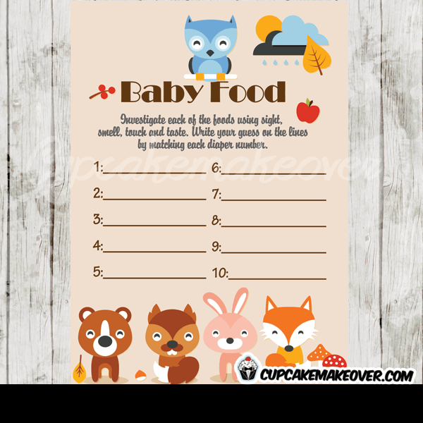 Woodland Creatures Forest Baby Shower Game Name The Baby Animal