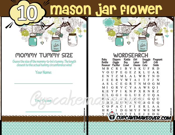 printable blue mason jar themed baby shower games