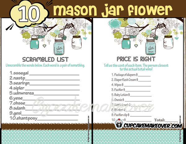 printable boy mason jar blue themed baby shower games