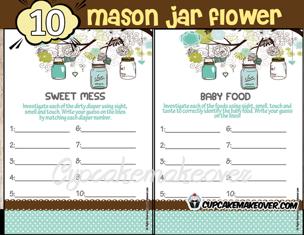 blue mason jar baby boy shower printables