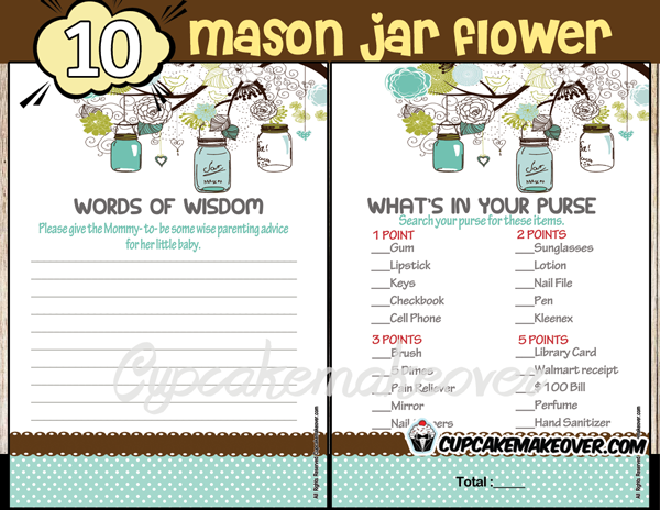 DIY baby shower boy mason jar games