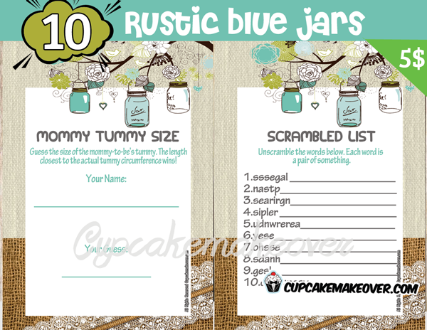 printable rustic blue mason jar themed baby shower games
