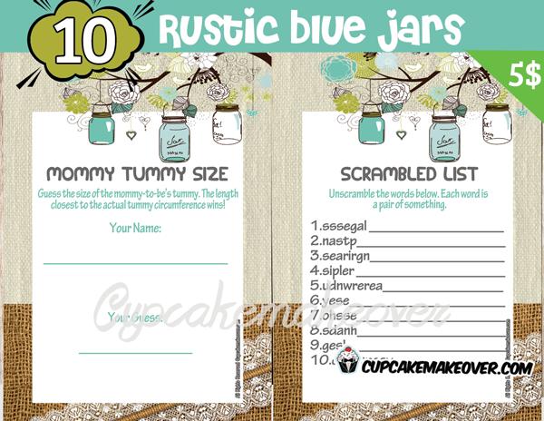 printable rustic blue mason jar themed baby shower games