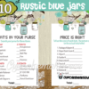 printable rustic blue mason jar themed boy baby shower games