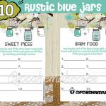DIY rustic baby shower blue mason jar games