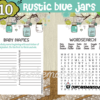 rustic blue mason jar baby boy shower printables
