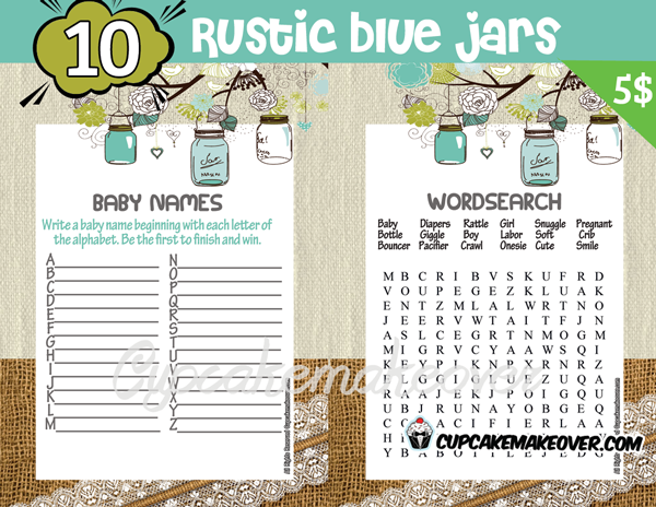 rustic blue mason jar baby boy shower printables