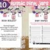 printable rustic pink mason jar themed baby shower games