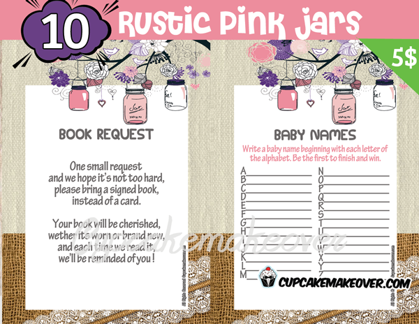 printable rustic pink mason jar themed baby shower games