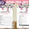 printable rustic pink mason jar themed girl baby shower games