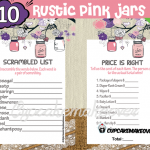 printable rustic pink mason jar themed girl baby shower games