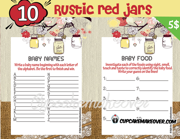 printable rustic yellow mason jar themed baby shower games