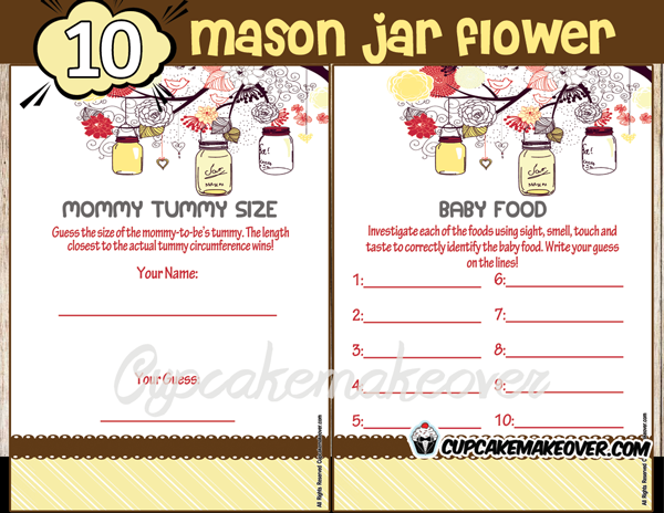yellow mason jar baby girl boy shower printables