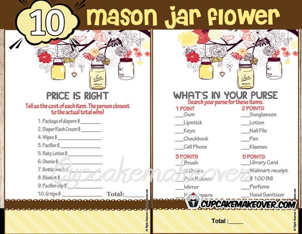 DIY baby shower gender reveal mason jar games