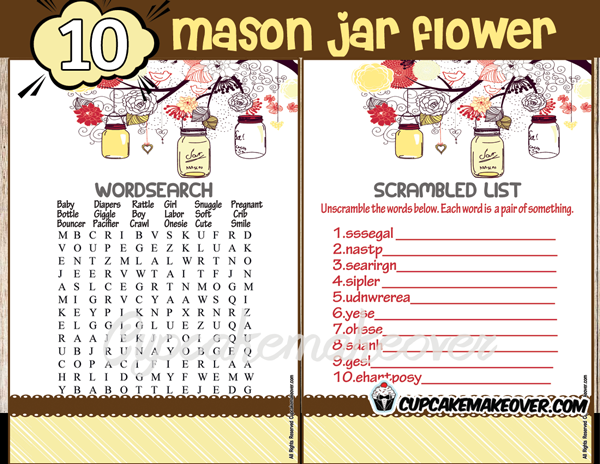printable yellow mason jar themed baby shower games