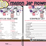 printable pink mason jar themed baby shower games