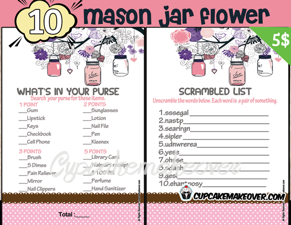 photograph regarding Free Printable Baby Shower Games What's in Your Purse called Mason Jar Child Shower Game titles Purple Instantaneous Down load - Cupcakemakeover