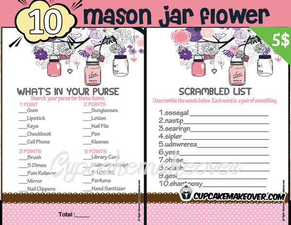 printable pink mason jar themed baby shower games