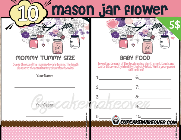 printable girl mason jar pink themed baby shower games