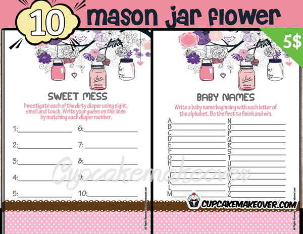 pink mason jar baby girl shower printables
