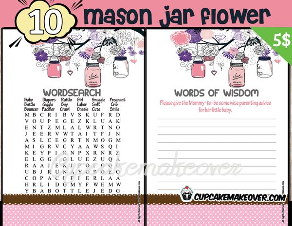 DIY baby shower girl mason jar games