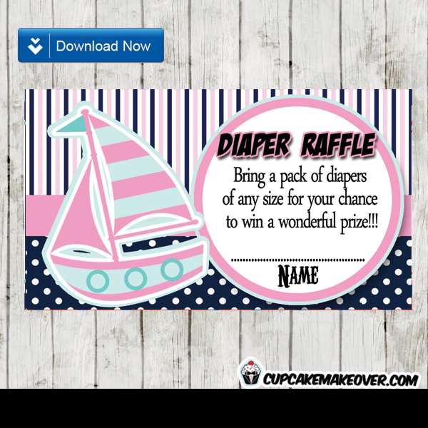 Girl sailboat nautical Baby shower diaper raffle tickets