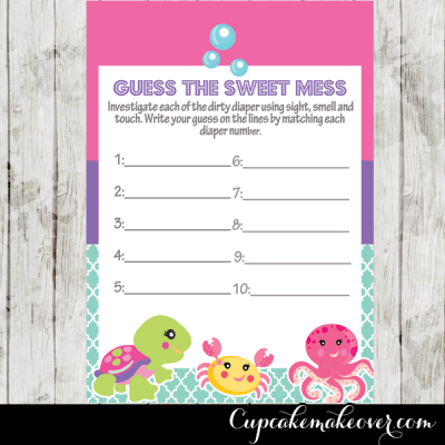 cute ocean creatures baby shower games pack printable