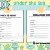 blue printable sea turtle crab octopus themed baby shower games