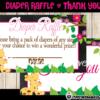 cute giraffe Baby Shower black and pink Diaper Raffle Tickets