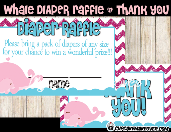 pink whale diaper raffle tickets girl