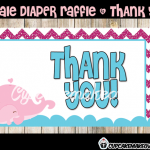 pink whale girl diaper raffle thank you cards