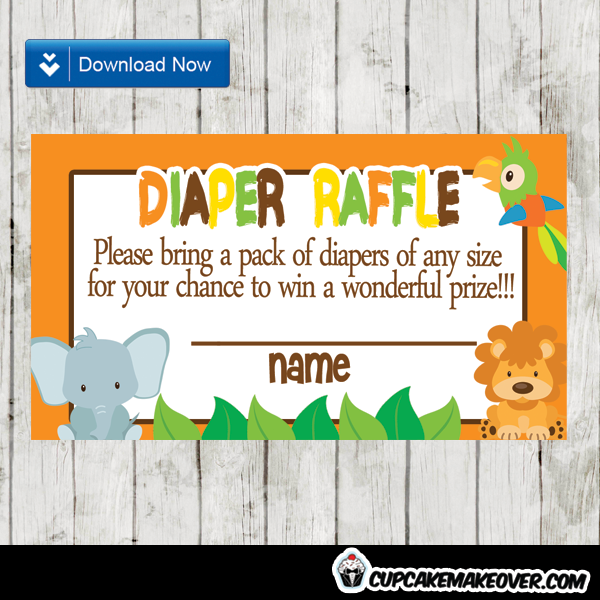 jungle safari diaper raffle tickets orange brown yellow green