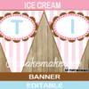 printable neapolitan ice cream birthday banner pink turquoise
