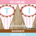 printable neapolitan ice cream birthday banner pink turquoise