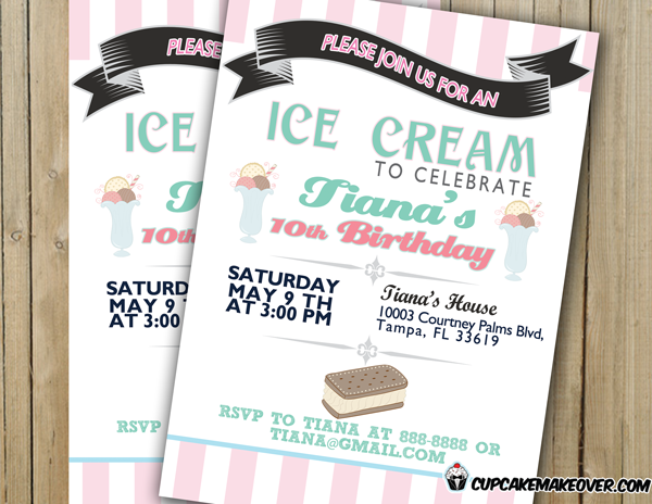 custom pink turquoise printable ice cream birthday invitation