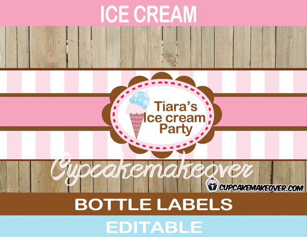 neapolitan editable ice cream bottle wrappers