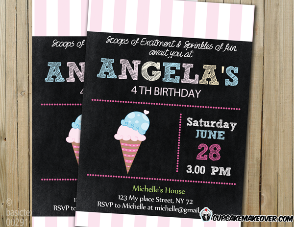 printable pink turquoise chalkboard ice cream cone birthday invitation