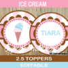 neapolitan ice cream editable cake toppers decorations