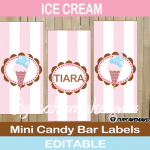 neapolitan ice cream mini candy bar labels
