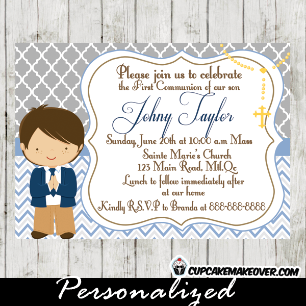 Blue Gray First Communion Invitation For Boys D2 Personalized