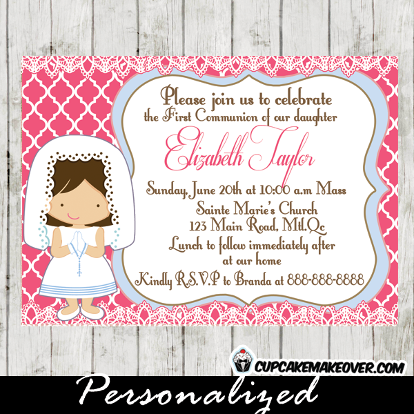 Girl First Holy Communion Invitation printable