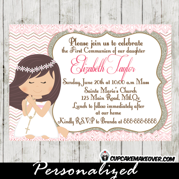 First Communion invitations for girls chevron online