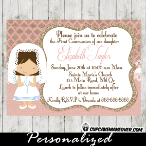 First Communion invitations for girls silver burlap online