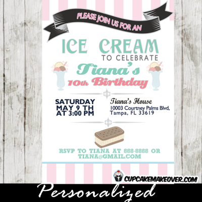 custom pink turquoise printable ice cream birthday invitations social sandwich party