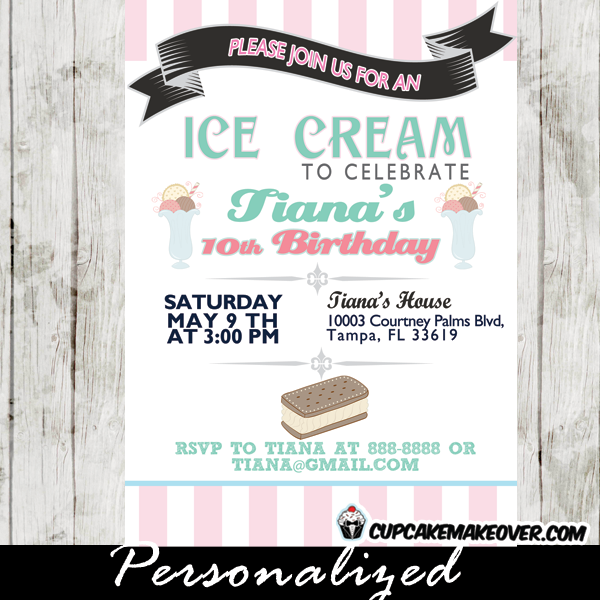 custom pink turquoise printable ice cream birthday invitations social sandwich party