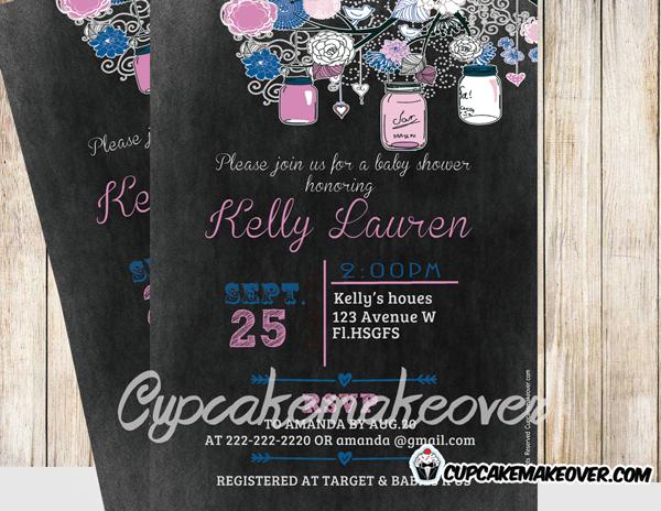 pink custom diy mason jars baby shower blackboard invitation