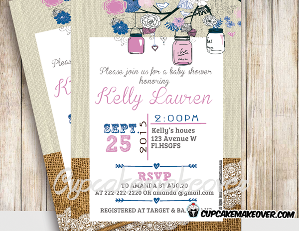 printable blue pink burlap lace mason jars baby shower invitations girls