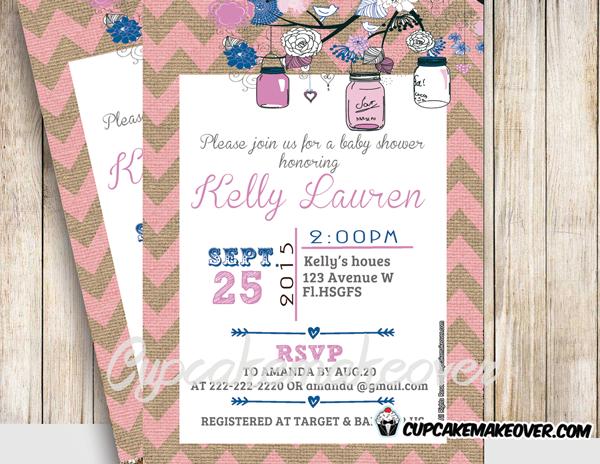 printable blue pink floral birch mason jars baby shower invitation